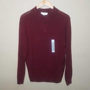 Turnbury Men's Merino Wool Sweater Collar Burgundy